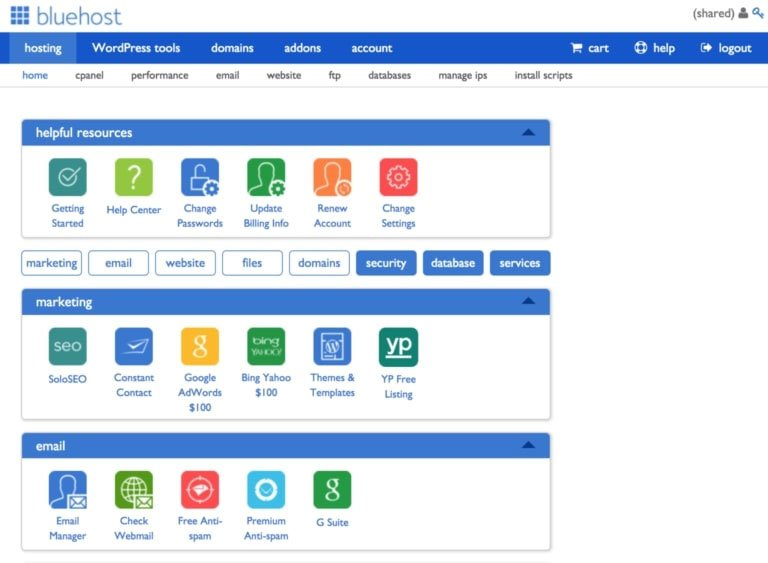 Bluehost's control panel (cPanel)