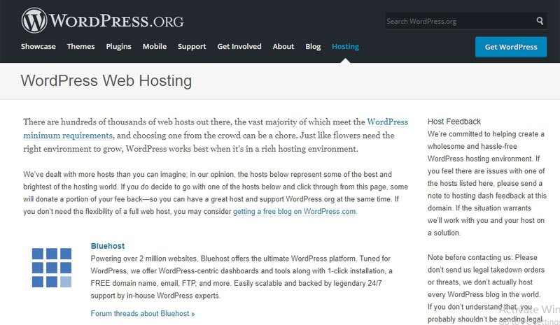 Officially Recommended Host by WordPress.org