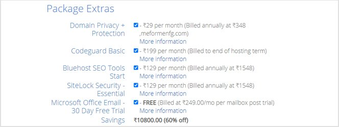 bluehost india package extras cost