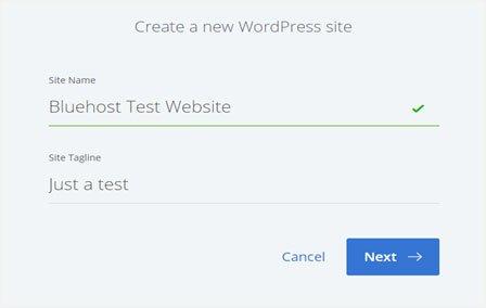 bluehost website setup dashboard
