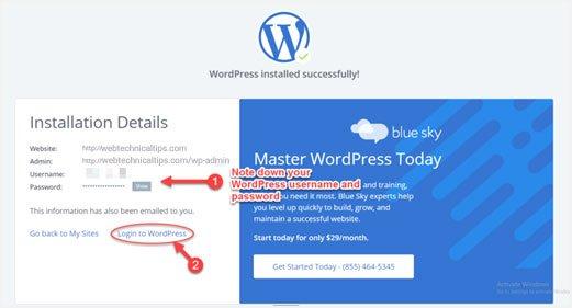 bluehost wordpress login details