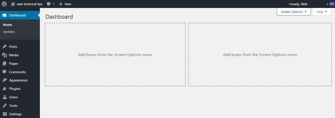 greegeeks wordpress dashboard