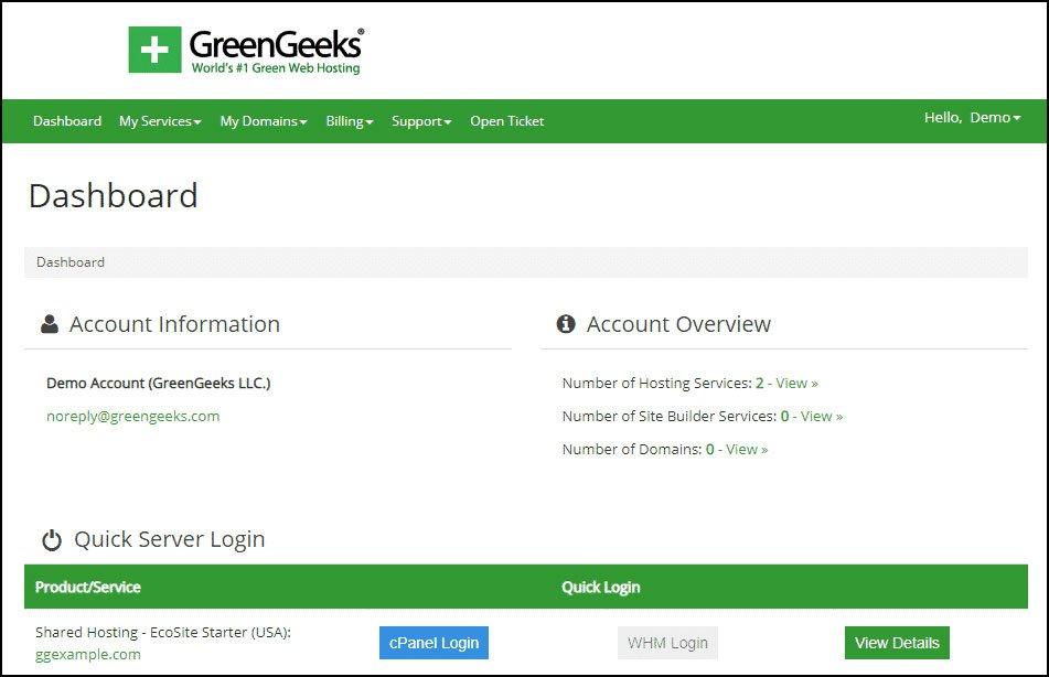 greengeeks after login screen