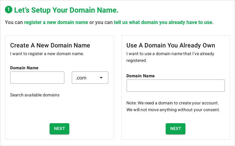 greengeeks hosting domain setup screen