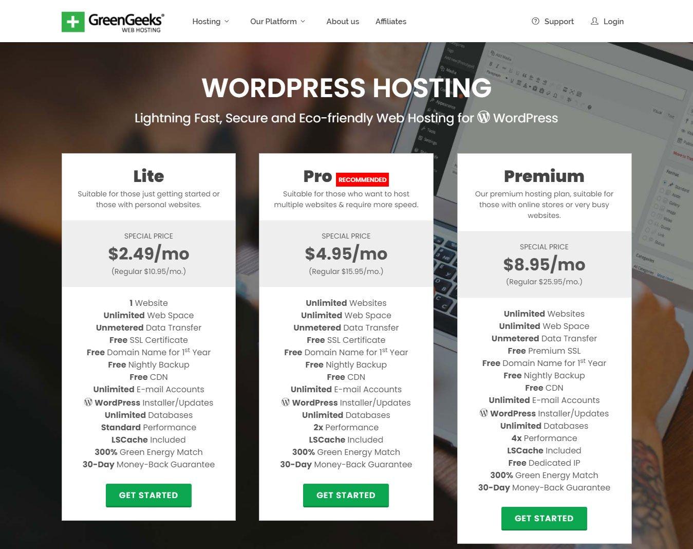 greengeeks wordpress hosting review