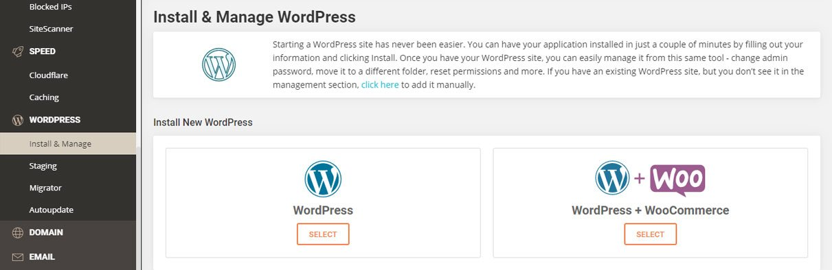 install and manage wordpress with siteground