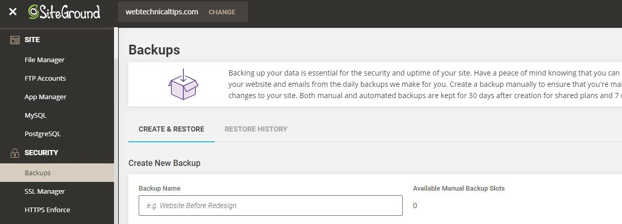siteground cpanel site backup option