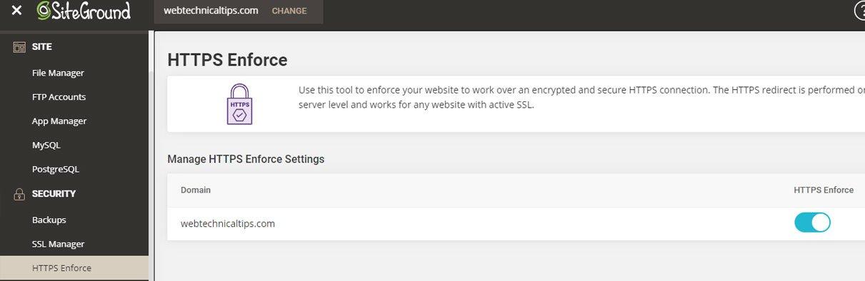 siteground hosting https enforce
