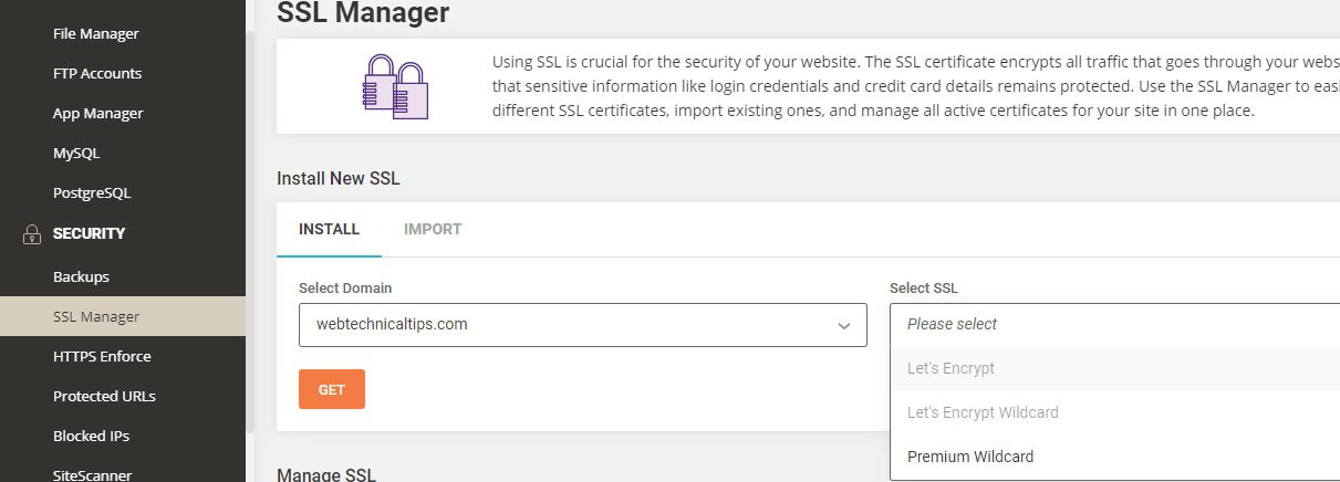 siteground ssl manager area