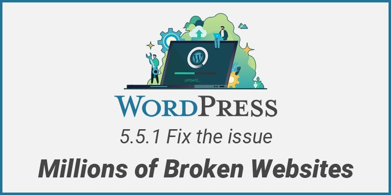 WordPress 5.5.1 release Fix the issue Millions of Broken Websites