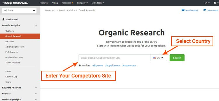semrush dashboard organic research, semrush review 2020
