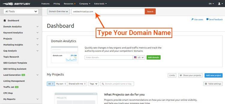 Adding your domain to SEMrush Dashboard